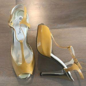 6f294984430 Erika Mustard yellow gold Mary Jane Peeptoe Heels NWT